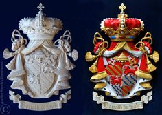 Family coat of arms carved in wood   Bonelli di Salci   Family crest carved in wood   Coat of arms with a ermine mantling or lambrequin