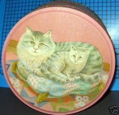 Pretty Pink design with cats tin box