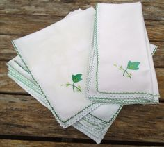 Christmas Napkins, 10 White Linen Napkins with Green Appliquéd Ivy Leaf and Green Hand Stitched Border. by VintageLoulabelle on Etsy