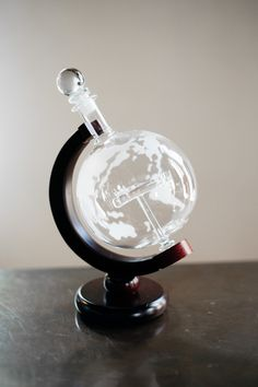 Etched World Globe Whiskey Decanter w/ Antique Plane