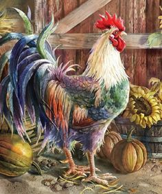 DIY Diamond Painting by Numbers Kits, Rooster Sunflower, Chicken Flower, Full Drill Rhinestones Paint with Diamonds Crystal Diamond Art (Chicken) Rooster Painting, Rooster Art, Rooster Decor, Tole Painting, Chicken Painting, Chicken Art, Farm Animals, Animals And Pets, Arte Do Galo