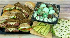 Ingallina's Box Lunch Los Angeles offering Monthly and St Patricks Day Special Combo Platters; it Comes with a St. Patrick's Day Sandwich Tray, Potato Salad and Shamrock Goodie Tray.