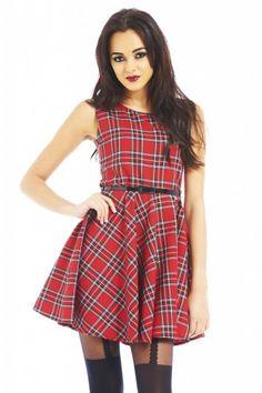 Tartan Red Print Belt Skater Dress Pear Shaped Outfits 02b6a28ea
