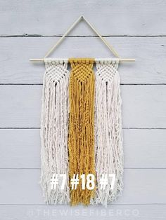 """Custom Macrame Wall Hanging - you choose your favorite 3 colors! This woven like wall hanging is reminiscent of friendship bracelets of our youth, but all grown up! Perfect wall decor for the modern minimalist, boho home, or college dorm. >>>DETAILS<<< ▪10 wide macrame ▪12"""" wide"""