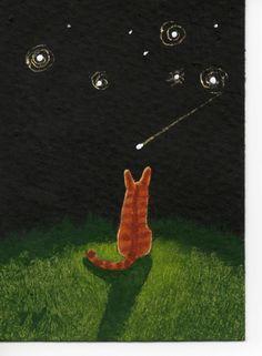 Orange Tabby Cat ACEO Folk Art Painting Original by ToddYoungArt- Meowski every night..