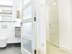 Hallway to bathroom by MiD Alcove, Bathtub, Interiors, Cabinet, Interior Design, Bathroom, Storage, Furniture, Home Decor