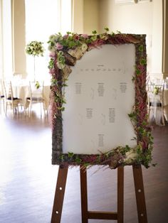 Floral table plan for a wedding.