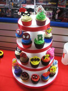 I'm either doing a DC superhero cake or DC cupcakes. Or do the cake and give the cupcakes as favors. Really loving the design! Avengers Birthday, Superhero Birthday Party, 4th Birthday Parties, 3rd Birthday, Birthday Cupcakes, Marvel Birthday Cake, Boys Cupcakes, Birthday Ideas, Batman Party