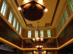 Original stained glass windows and paintings of the Peoples Savings Bank designed by Louis Sullivan who was FLW's understudy. This is now Popoli's Ristorante & Sullivan's Bar in Cedar Rapids, Iowa