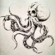 Octopus illustration by MelkorBaulgir on DeviantArt – octopus tattoo Octopus Drawing, Octopus Tattoo Design, Octopus Tattoos, Octopus Art, Skull Tattoos, Sleeve Tattoos, Tattoo Designs, How To Draw Octopus, Head Tattoos