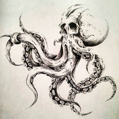Octopus illustration by MelkorBaulgir on DeviantArt – octopus tattoo Octopus Drawing, Octopus Tattoo Design, Octopus Tattoos, Octopus Art, Skull Tattoos, Body Art Tattoos, Tattoo Drawings, Sleeve Tattoos, Art Drawings