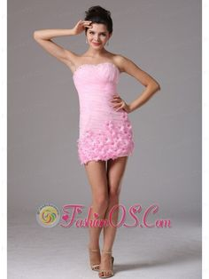 Arizona City Baby Pink Column Hand Made Flowers and Ruch 2013 Cocktail Dress With Sweetheart  http://www.fashionos.com  This special baby pink evening gown is sure to impress at your prom or special occasion party! The refined ruching, hemmed beading, and modified sweetheart add a dramatic effect to the fitted bodice. Numerous hand made flowers is accented with the mini-skirt that beautify the dress. A hidden zipper makes for easy off and on and secures the dress in place.