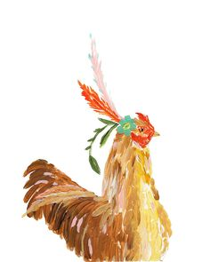 Add a pop of whimsy and color to your decor with a bohemian chicken limited edition print. Personally signed by Bari J. Printed on luxe heavy weight archival paper made to last. For the safest shippin