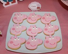 Adorable Peppa Pig cookies at a girl birthday party! See more party planning ideas at CatchMyParty.com!