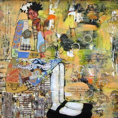 """""""Message In A Bottle"""" Mixed Media Collage By Artist April Harrison."""