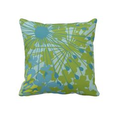 Spring Floral Throw Pillow ~   Spring Floral Throw Pillow, in shades of spring greens and blues.