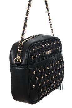 #pochette in ecopelle trapuntata, cuciture a rombi, applicazioni di borchie color oro e tracolla fissa #borsa #miabag #bag #moda #fashion #bforeshop