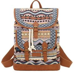 Bandana by American West Sante Fe Tan and Blue Drawstring Backpack