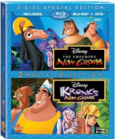 """""""The Emperor's New Groove"""" and """"Kronk's New Groove"""" are available June 2013 for the first time ever on Blu-ray hi-definition, in a 2 movie collection. The Blu-ray Combo Pack inc Emperors New Groove, Wendie Malick, Patrick Warburton, Disney Blu Ray, Walt Disney, Eartha Kitt, Der Computer, Blu Ray Movies, Animation"""