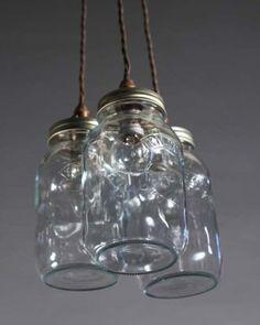 Upcycled Mason Jar Pendant Ceiling Lights, Vintage Retro Lighting