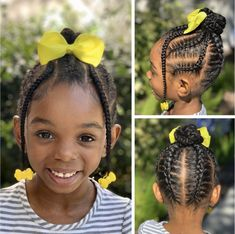 Loving these cornrows and braided bun by Black Curly Princess using our Daddy's Girl barrettes. /Natural hair styles for black girls / Girls hairstyles / Protective styles for girls Little Girls Natural Hairstyles, Lil Girl Hairstyles, Black Kids Hairstyles, Braided Bun Hairstyles, Princess Hairstyles, Toddler Hairstyles, Girl Haircuts, Kid Braid Styles, Little Girl Braids
