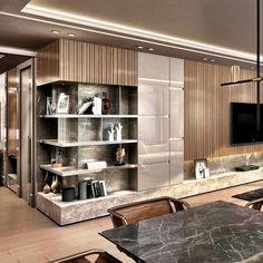 140 dreamy partition apartment design ideas you must have - page 4 ~ Modern House Design Shelf Design, Cabinet Design, Design Case, Design Living Room, Living Room Interior, Art Of Living, Modern Interior Design, Luxury Interior, Japanese Apartment