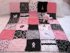 BABY Paris Poodle Eiffel Tower fabric rag quilt pink minky. $65.00, via Etsy.