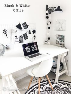 Black And White Home Office Decoration Shabby Chic Interiors Homes