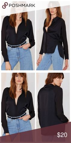 Real Slick Satin Nasty Gal Shirt Real Slick Satin Blouse by Nasty Gal. Hi-low hem with open side, hidden button placket. Chiffon sleeves and satin body. Nasty Gal Tops