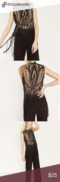 Zara sheer lace top with fringe detail Worn once Zara Tops