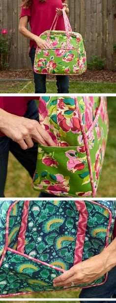 This quilted travel bag is perfect for a weekend getaway. It has enough space for all the clothes, toiletries, and extras you might need on a trip. Get the pattern and supplies in this easy to sew up kit.