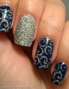Repinned: Glitter detailed nails by Kristin Day