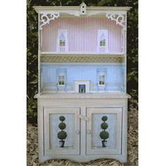 "2"" LYDIA DOLLHOUSE CUPBOARD - 2"" scale cupboard is designed to hold our 1/4"" scale Miss Lydia Pickett Cottage Collection furniture. Rooms are designed to set up any way you want. The doors on the bottom open and you can also decorate the shelves into additional rooms. Includes everything shown. Measures 8 1/2"" wide, 3"" deep and 13 5/8"" tall"