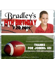 These football birthday candy wrappers fit over a standard 1.55 oz Hersheys milk chocolate bar or similarly sized candy bar.  You can personalize the colors and text on the candy wrapprs.  Green foil would g great with this candy wrapper design, but you can choose from several different foil color choices that are available.