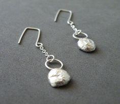 Sterling Silver Nugget Earrings Modern Minimalist by SteamyLab, $40.00