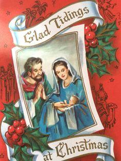 Vintage Christmas Card Sunshine Line 1960 Nativity Mary & Joseph Embossed Foiled Collectible Ephemera by HiltonHeadThriftShop on Etsy