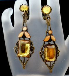 Antique Enamel Rhinestone Earrings Citrine Yellow Brass Art Deco Screwback | eBay