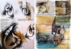 Sketchbook pages (teaching examples) created by Amiria Robinson