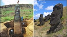The giant heads of Easter Island, do have bodies, but landslides have covered them up
