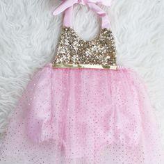 Pink and Gold Dots Tutu Birthday Belle Sparkle Romper #bellethreadspinterest
