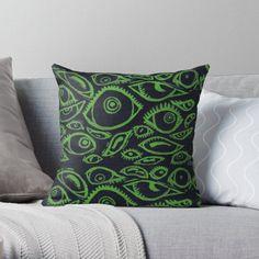 Spooky Eyes, Designer Throw Pillows, Pillow Design, Sell Your Art, Original Art, Lime, Cushions, Green, Prints