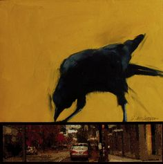 Jacqueline McIntyre: CROWS Again , painting with Collage and Oil
