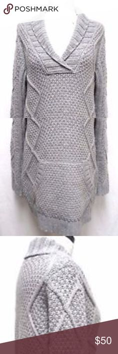 """Soft Surroundings Jackie gray Sweater Size Small S Soft Surroundings sweater in mint condition. Size Small, 52% Acrylic, 48% Wool, about 23"""" from underarm to underarm, about 30.5"""" from shoulder to hemline.  Pet and smoke free home. Soft Surroundings Sweaters V-Necks"""