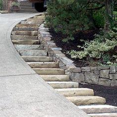 Single stone steps by steep driveway. - Yelp