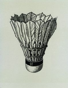speedball printmasters press: magnificent detail on this shuttlecock