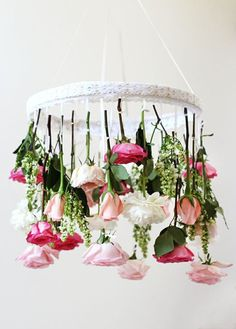 Lets get things started with this fabulous floral chandelier found at and photographed by Honestly WTF. Plus they included easy to follow directions! So making this for your next event will be a cinch!