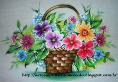 Pintura em Tecido Passo a Passo Com Fotos: Pintura em Tecido Flores na Cesta