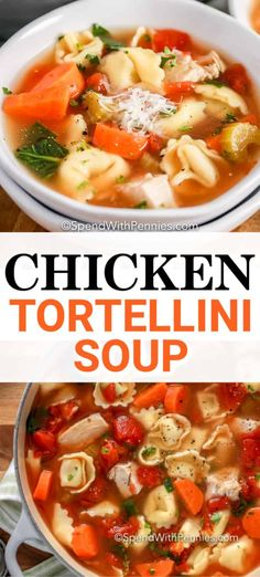 Chicken Tortellini Soup is a hearty and delicious soup that is easy to prepare. Made with chicken, vegetables, and Italian seasoning it is a savory and filling stovetop soup. #spendwithpennies #chickentortellinisoup #soup #Italian #maindish #sidedish #stovetop #easysouprecipe Chicken Barley Soup, Chicken Tortellini Soup, Tortellini Recipes, Chicken Soup Recipes, Easy Soup Recipes, Cooking Recipes, Healthy Recipes, Spinach Tortellini, Kitchen Recipes