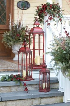 I really love the color of these lanterns. Farmhouse Christmas, Rustic Christmas, Porch Decorating