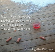 Rudolph turned the water red when he drank it!  Love this idea!